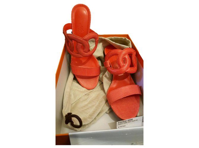 Hermès Peace Sandals Exotic leather Coral ref.167806