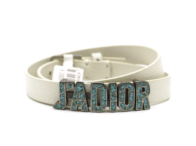 Bracelets Dior Bracelet Dior Creamy J'a en cuir Jadior Turquoise Cuir Blanc ref.167850