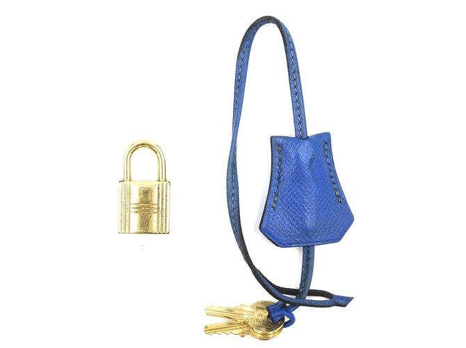 Bijoux de tête Hermès Hermès Clochette Bleu Doré avec Serrure Deux Clés #113 Cuir Bleu ref.167915