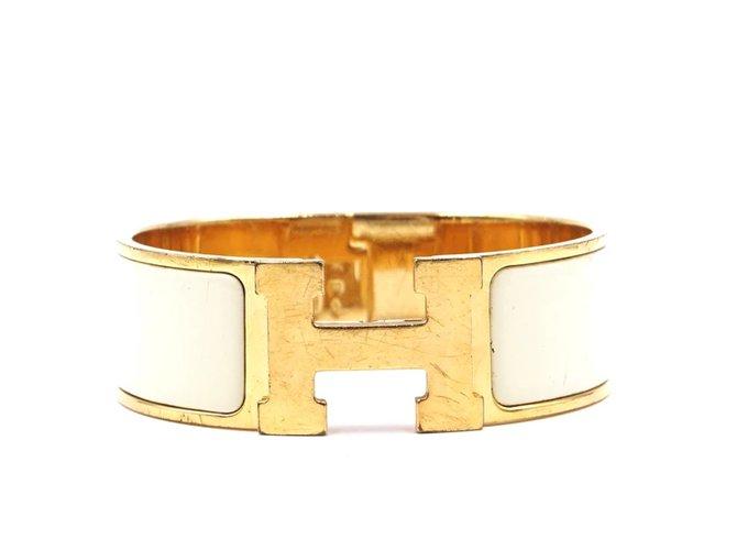 Bracelets Hermès Hermès Doré Crémeux Émail H Clic Clac PM Large Manchette Autre Doré ref.167918