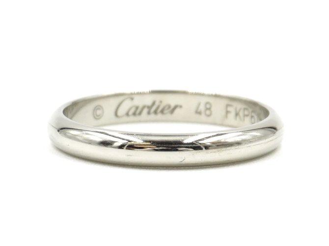 Bagues Cartier Cartier Platinum Pt950 Alliance taille mince 48 Platine Argenté ref.167927
