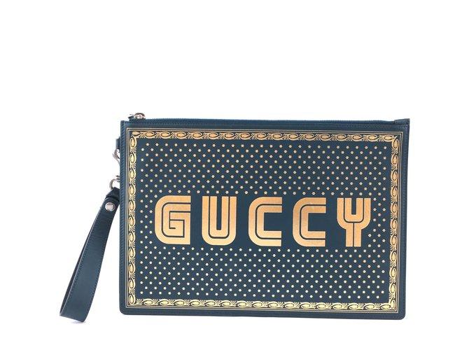 Pochettes Gucci Gucci GUCCY Logo Zippé Pochette Cuir Noir Or Cuir Vert ref.167990