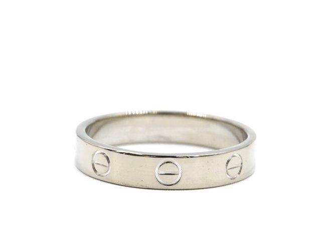 Bagues Cartier cartier 18K 750 Taille de bague de mariage Love Band 57 Or blanc Argenté ref.168107