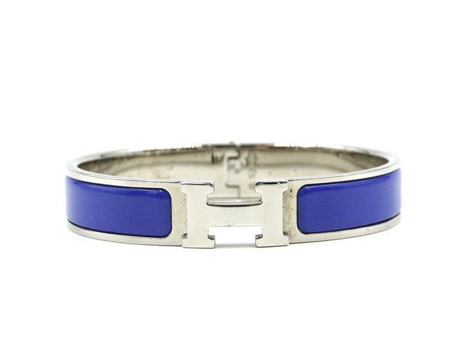 Bracelets Hermès Bracelet jonc Hermès émail bleu argent H Clic Clac PM Métal Bleu ref.168132