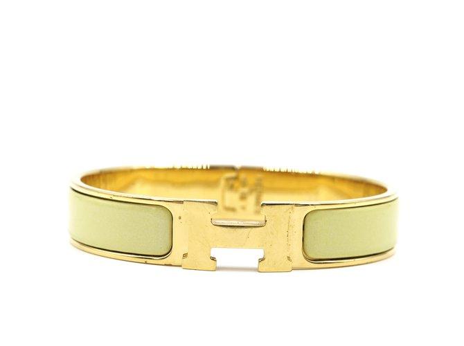 Bracelets Hermès Bracelet Hermès Or Lime Émail H Clic Clac PM Métal Doré ref.168133