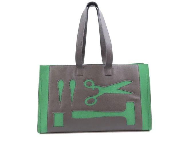 Hermès Hermès Petit H Skeleton GM Green Brown Leather Handbags Leather Green ref.168151