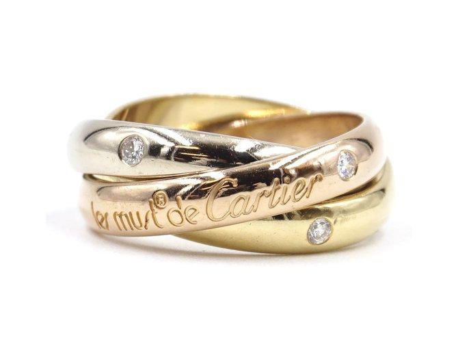Bagues Cartier cartier 18k Trinité tricolore 3p Taille de bague en diamants 49 Or blanc Multicolore ref.168153