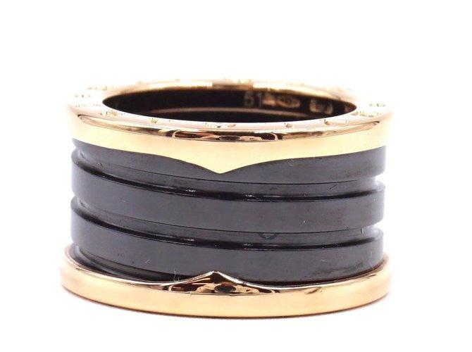 Bagues Autre Marque Bvlgari 18K 750 Spirale en céramique noire B.Zéro1 size 51 Bague Céramique Noir ref.168179