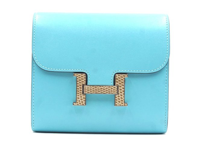 Hermès Hermès Constance Wallet Organizer Compact Blue Bleu Atoll Clutch Clutch bags Leather Blue ref.168201
