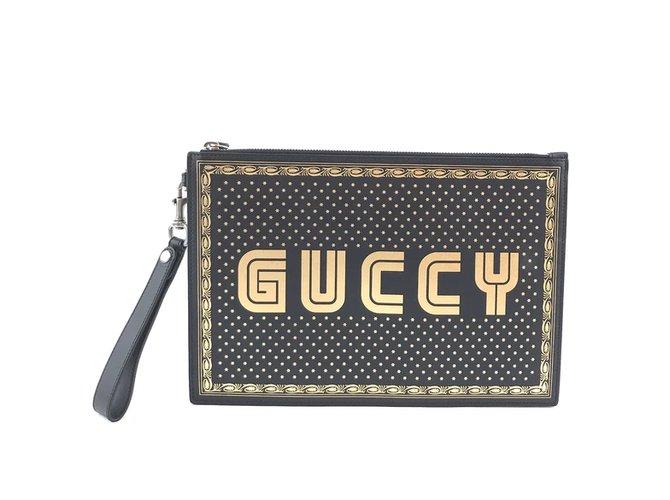 Pochettes Gucci Gucci GUCCY Logo Zippé Pochette Cuir Noir Or Cuir Noir ref.168206
