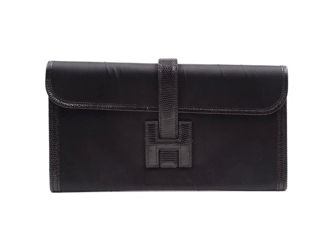 Hermès Hermès Jige Long H Logo Black Lizard Skin Leather Clutch bags Leather Black ref.168208