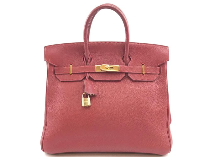 Hermès HERMES BIRKIN 32 Hac Red Clemence Leather Handbags Leather Red ref.168227