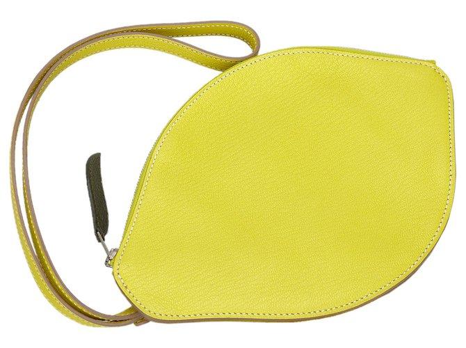 Hermès Hermes Yellow Chevre Mysore Citron Clutch Bag Clutch bags Leather,Goatskin Yellow ref.168284