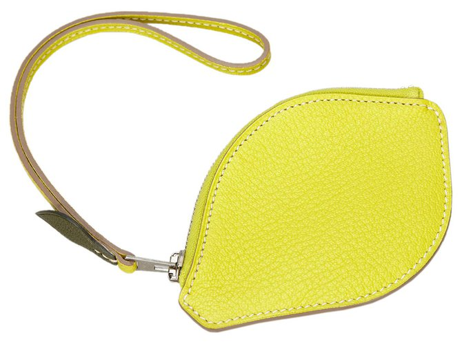 Hermès Hermes Yellow Chevre Mysore Citron Pochette Misc Leather,Goatskin Yellow ref.168292