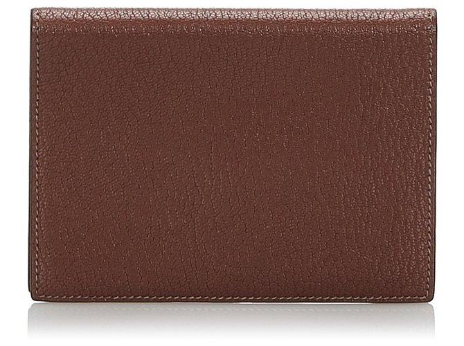 Décoration divers Hermès Housse de passeport Hermes en cuir marron Cuir,Autre Marron ref.168295