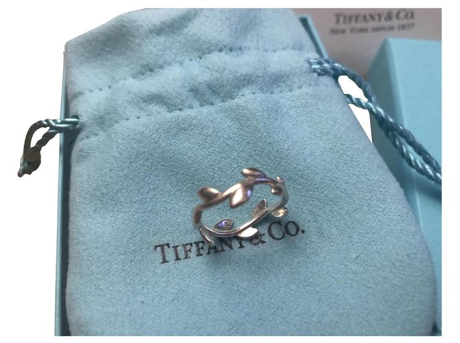 Bagues Tiffany & Co Anneau feuilles d'olivier Argent Argenté ref.168341