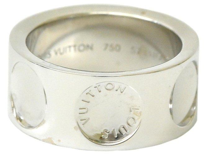 Bagues Louis Vuitton Bague Louis Vuitton Petitburg Ring Or blanc Blanc ref.168379