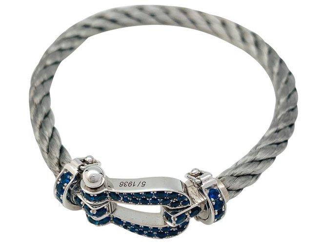 """Bracelets Bracelet Fred, """"Force 10"""", en or blanc, saphirs et acier. Or blanc,Autre Autre ref.168420"""