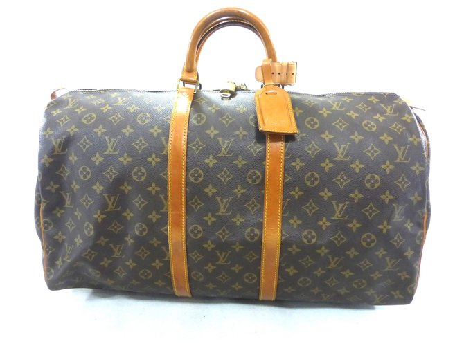 Sacs de voyage Louis Vuitton KEEPALL 55 MONOGRAM Cuir Marron ref.168434