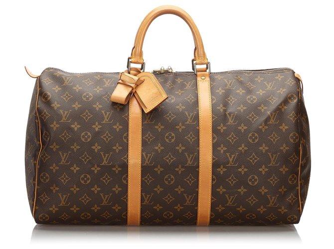 Sacs de voyage Louis Vuitton Louis Vuitton Keepall Monogram Brown 50 Cuir,Toile Marron ref.168492