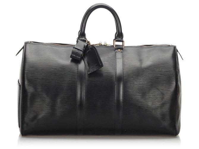 Sacs de voyage Louis Vuitton Louis Vuitton Black Epi Keepall 45 Cuir Noir ref.168520