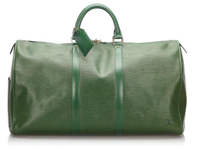 Sacs de voyage Louis Vuitton Louis Vuitton Green Epi Keepall 50 Cuir Vert ref.168531