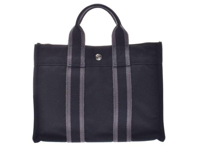 Hermès Hermès fool toe PM Handbags Cloth Black ref.168596