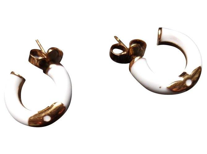 Boucles d'oreilles Louis Vuitton créoles VUITTON Acier Blanc ref.168650