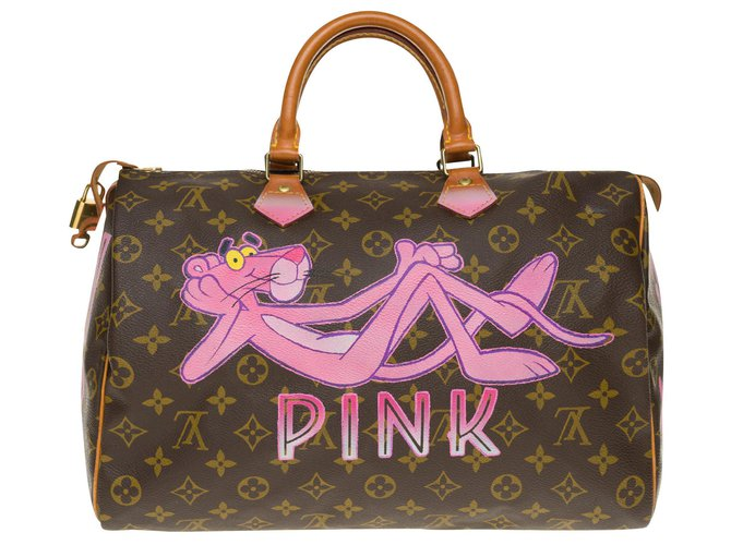 "Louis Vuitton Speedy handbag 35 in custom Monogram canvas ""Panther III"" by PatBo Handbags Leather,Cloth Brown ref.168656"