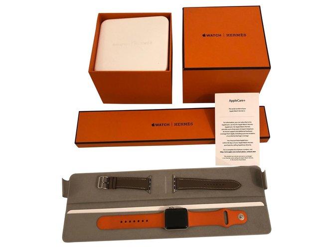 Montres Hermès Apple Watch Hermes 38 mm Cuir,Acier,Plastique Argenté ref.168658