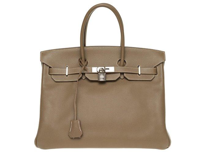 Hermès HERMES BIRKIN 35 leather epsom color tow, silver hardware palladium, In very good shape ! Handbags Leather Grey ref.168663