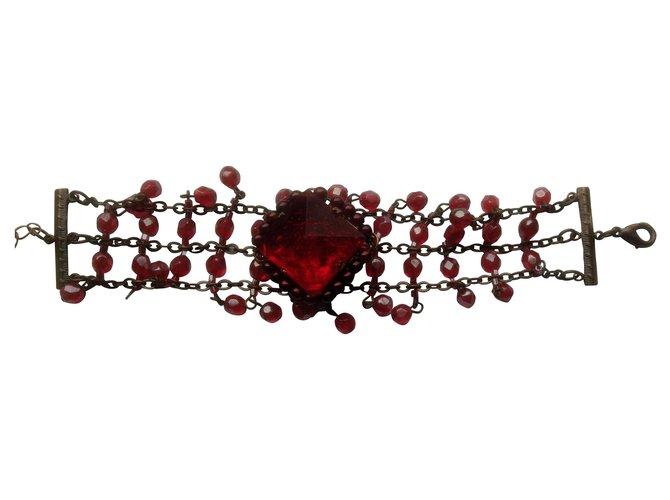 Bracelets Autre Marque Bracelet de conditionnement vintage avec de belles pierres rouge rubis Autre,Métal Bordeaux ref.168667