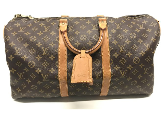 Sacs de voyage Louis Vuitton Louis Vuitton Keepall Bandouliere 50 Toile Marron ref.168683