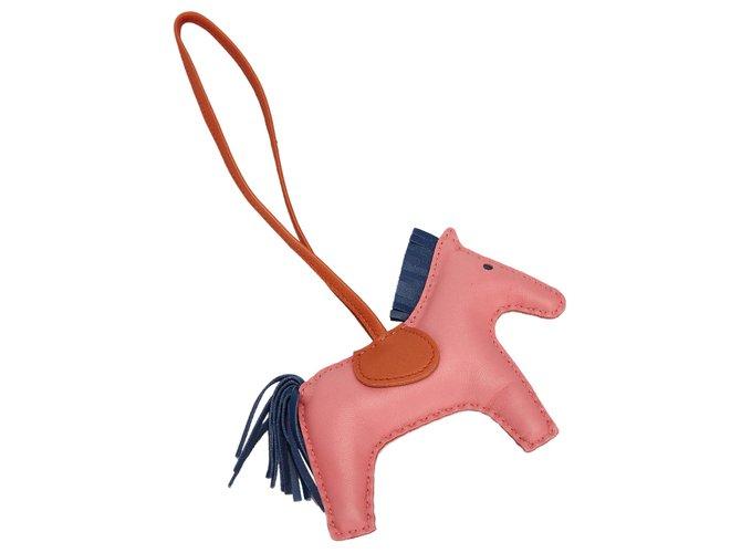 Hermès Hermes Pink Grigri Rodeo Bag Charm Misc Leather,Other Pink,Blue ref.168687