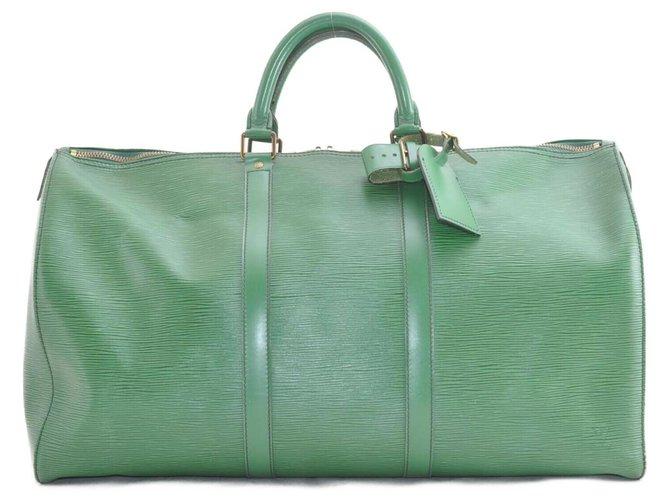 Sacs de voyage Louis Vuitton Louis Vuitton Epi Keepall 50 Cuir Vert ref.168708