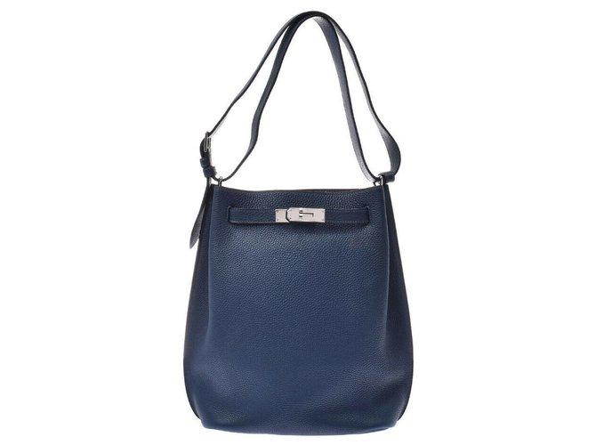 Hermès Hermès So Kelly 22 Handbags Leather Blue ref.168746