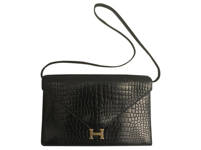 Hermès Lydie Bag Hermes Handbags Exotic leather Black ref.168764