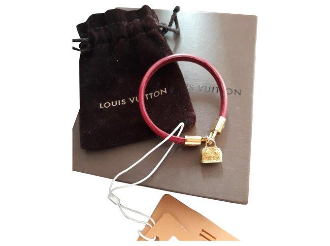 Bracelets Louis Vuitton Bracelet Alma Cuir Rouge ref.168777
