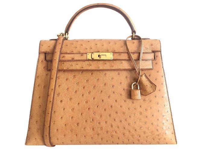 Hermès hermes kelly 32 Gold Ostrich Handbags Exotic leather Light brown ref.168933
