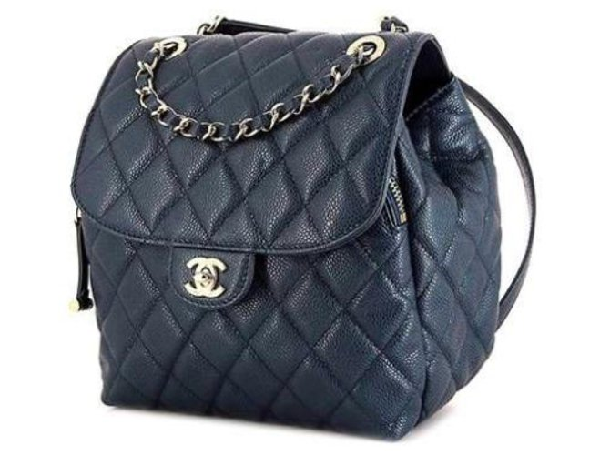 Chanel Chanel Leather Backpack Backpacks Leather Blue ref.169079