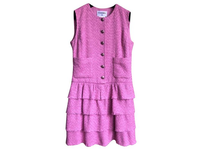 Robes Chanel Robes Tweed Rose ref.169113