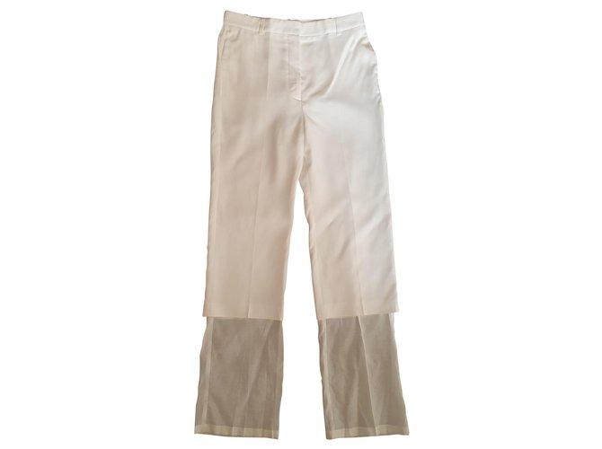 Pantalons Stella Mc Cartney Un pantalon, leggings Soie,Coton,Acetate Blanc ref.169122