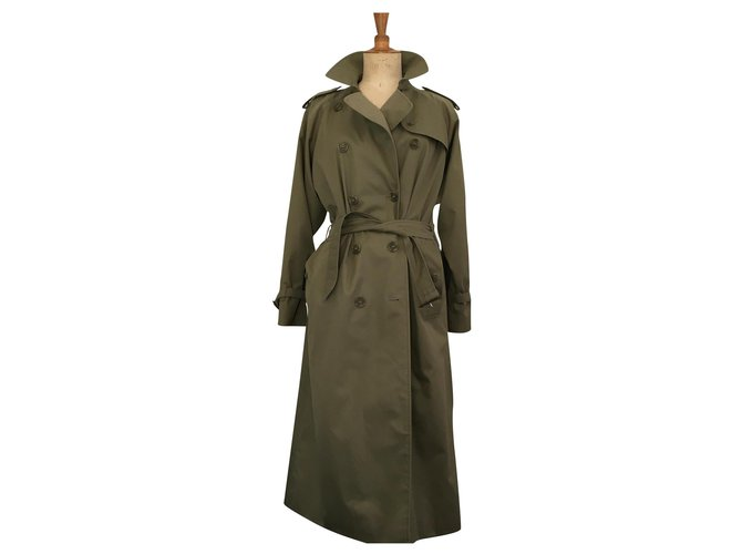 Burberry Classic check Trench coats Cotton,Polyester Khaki ref.169125
