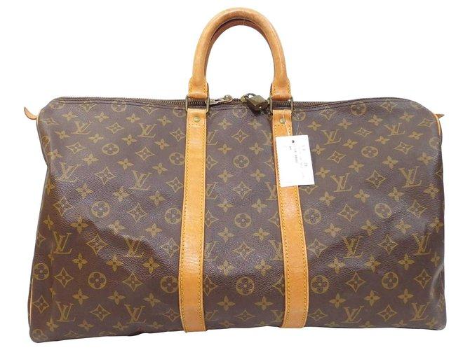 Louis Vuitton Louis Vuitton Keepall 50 Travel bag Cloth Brown ref.169137