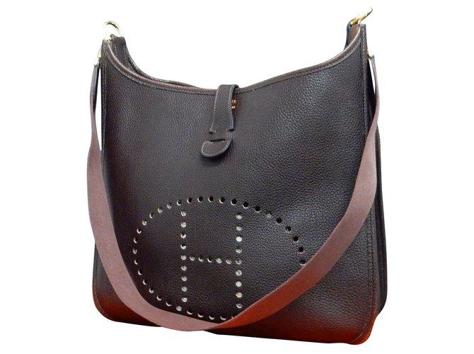 Hermès Hermès Evelyne Handbags Leather Brown ref.169138
