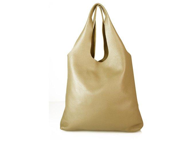 Jil Sander Jil Sander Taupe Pebbled Leather Open Top Shoulder Bag Hobo Handbag Handbags Leather Grey ref.169148