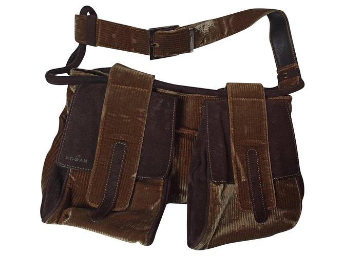 Hogan Hand bags Handbags Velvet Brown ref.169150
