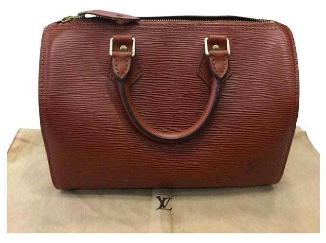 Louis Vuitton Speedy 28 Handbags Leather Caramel ref.169154