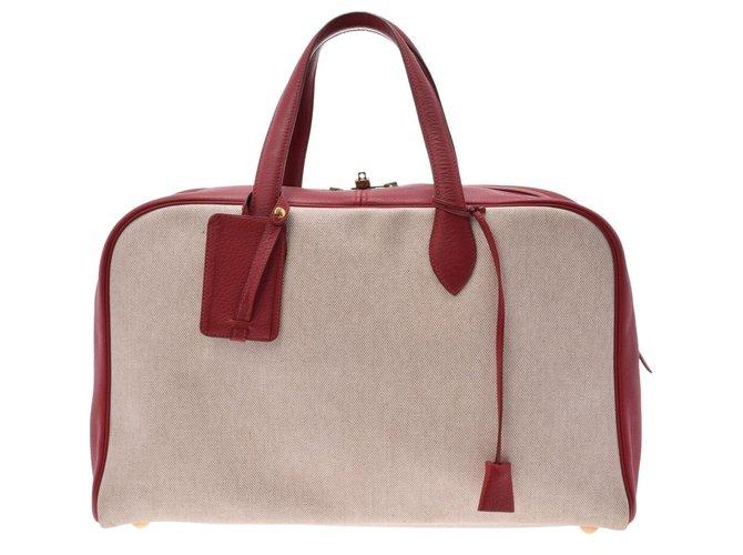 Hermès Hermès Victoria 43 Travel bag Leather Red ref.169155