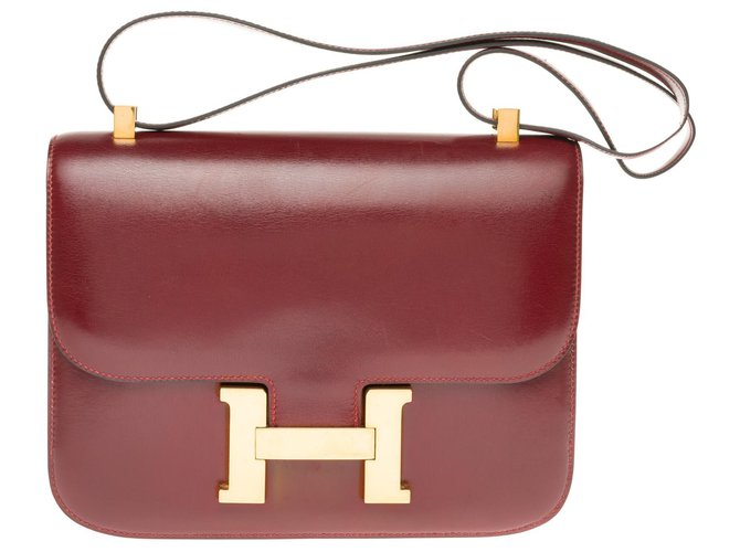 Hermès Hermes Constance 23 burgundy Box leather, gold-plated metal trim in excellent condition! Handbags Leather Dark red ref.169170